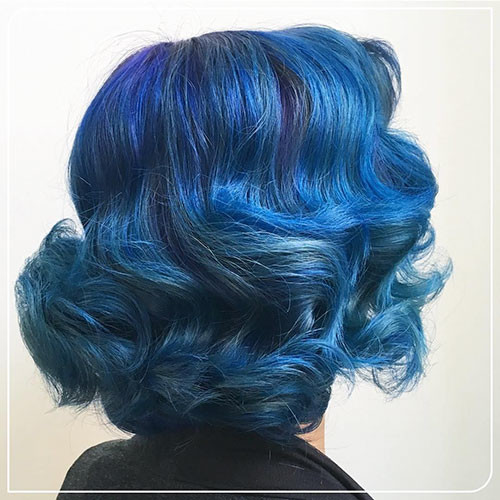 35-blue-black-short-hair Popular Short Blue Hair Ideas in 2019