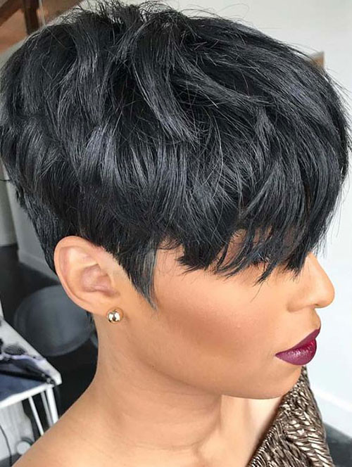 Black-Hair-Short-Cut Sweet and Sexy Pixie Hairstyles for Women