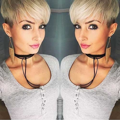 Blonde-Pixie-with-Bangs Nice Short Hairstyle Ideas for Teen Girls