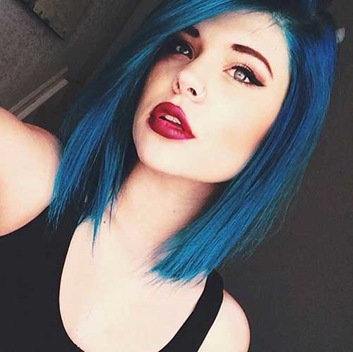 Blue-Bob-Hairstyle Nice Short Hairstyle Ideas for Teen Girls