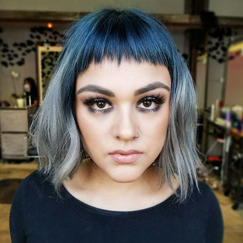 Blue-Ombre-Short-Hairstyle Popular Short Blue Hair Ideas in 2019