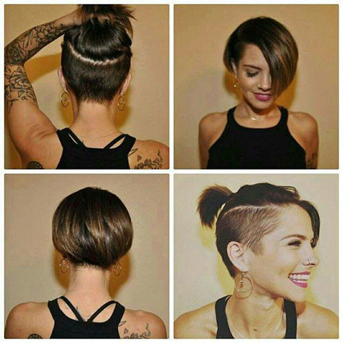 Bob-with-Undercut-Sides Cute Short Haircuts and Styles Women