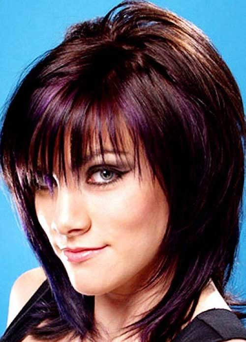 Brunette-Short-Straight-Layered-Hair-with-Bangs Nice Short Straight Hairstyles with Bangs