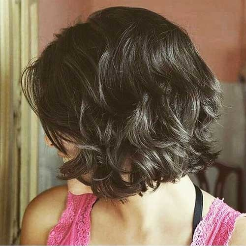 Dark-Layered-Short-Bob Most Magnetizing Hairstyles for Curly and Wavy Hair