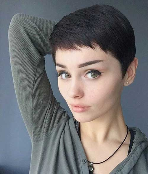 Dark-Pixie-Hairstyle Nice Short Hairstyle Ideas for Teen Girls