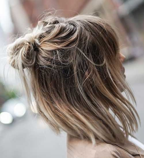 Easy-Messy-Half-Bun-for-Short-Hair Simple Short Hairstyles for Pretty Women
