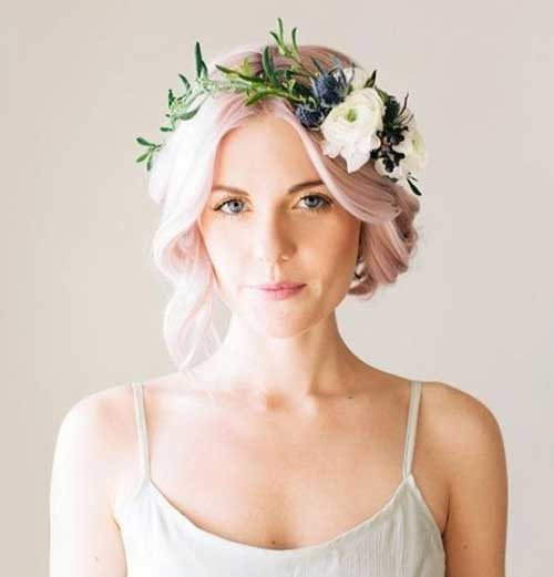 Flower-Crown-Wedding Best Short Hairstyles for Wedding You Should See