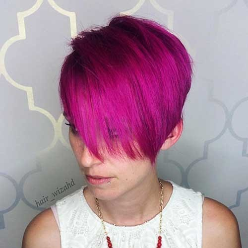 Hot-Magenta-Hair Nice Short Hairstyle Ideas for Teen Girls