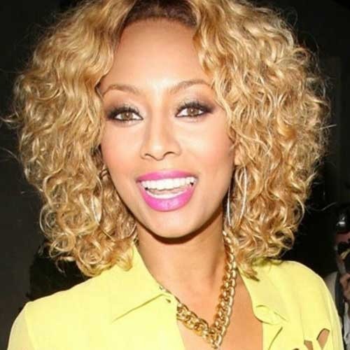 Keri-Hilson-Blonde-Bob-Curly-Style Keri Hilson Blonde Bob Hairstyles
