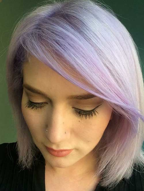Light-Purple-Hair Short Hairstyle Options for Fine Haired Ladies