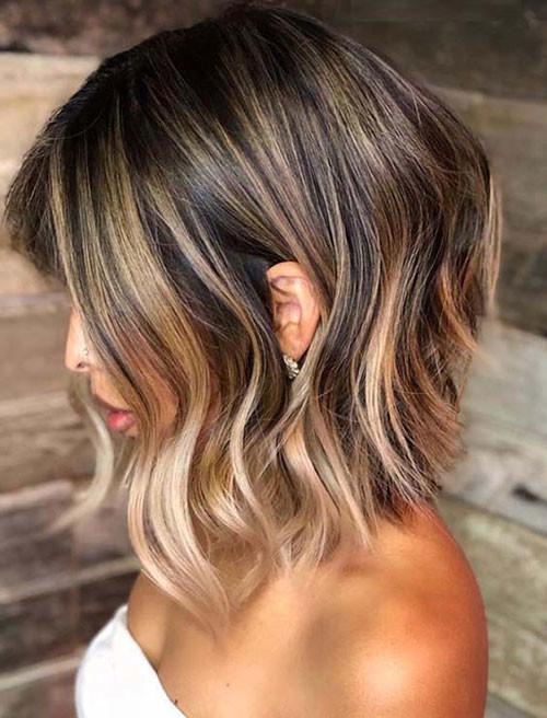 Lob-Haircut-W-Balayage Best Wavy Bob Hairstyles You will Like
