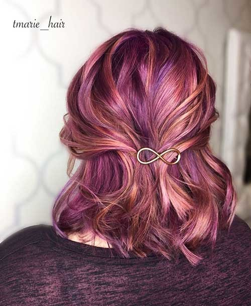 Mauve-Rose-Gold-colors Cool Short Hairstyles You Can Rock This Summer