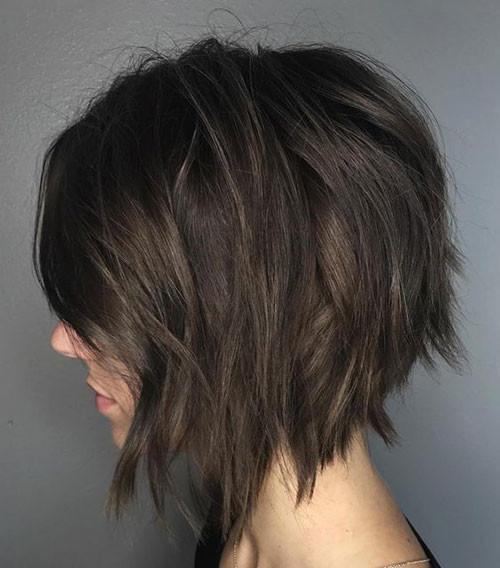 Messy-Asymmetrical-Bob Short Brown Hairstyles for Fashionable Women