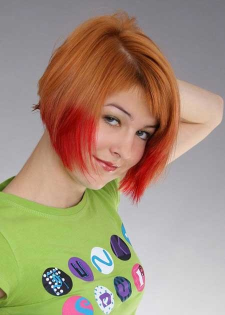 Nice-Copper-Blonde-Graduated-Bob-Cut-with-Cool-Red-Fringes Hair Color for Short Hair 2019