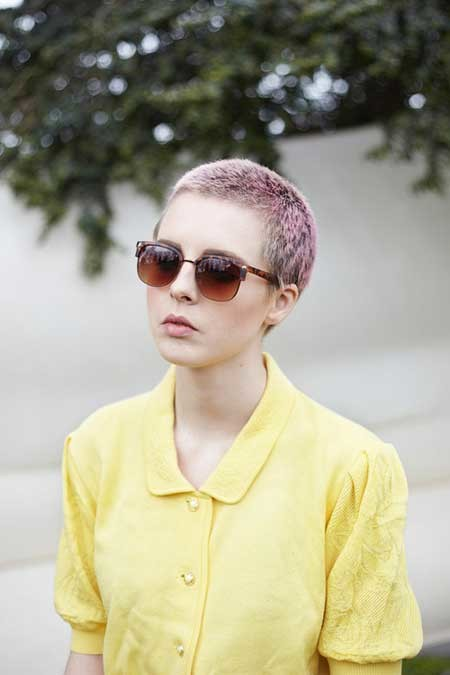 Nice-Very-Short-Hairstyle-with-Cool-Hues-of-Purple-Black-and-Gray Hair Color for Short Hair 2019