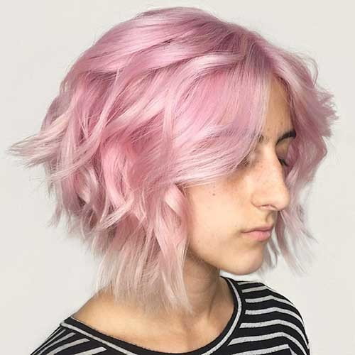 Pastel-Pink-Bob Trending Style for Summer: Curly and Wavy Hairstyles
