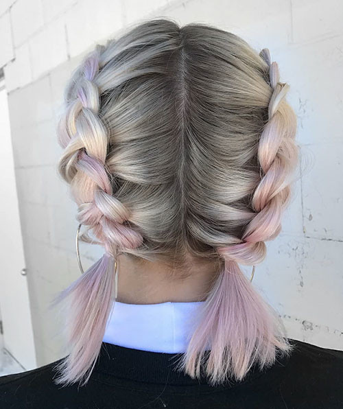 Pink-Hair Best French Braid Short Hair Ideas 2019