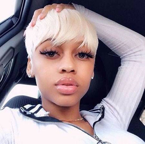 Platinum-Blonde-Pixie In Style Short Haircuts for Black Women