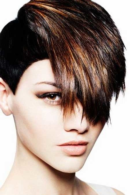Rebellious-Black-Pixie-Cut-with-Awesome-Bangs-and-Tinges Hair Color for Short Hair 2019