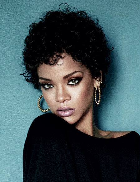 Rihannas-Lovely-Curly-Bob-Cut Cuts for Short Curly Hair