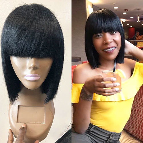 Short-Blunt-Bob-2 Populer Blunt Bob With Bangs 2019