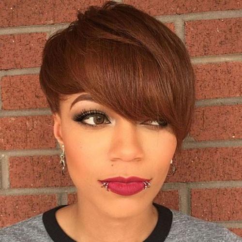 Short-Hair-Long-Side-Bangs In Style Short Haircuts for Black Women