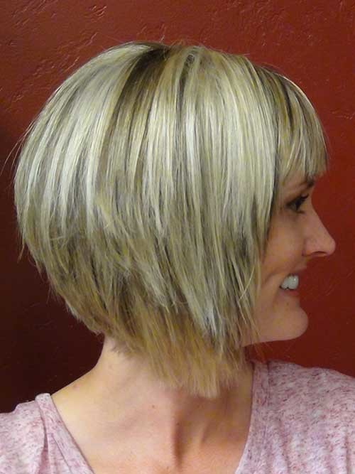 Short-Hair-Stacked-Cut-with-Bangs-Side-View Short stacked haircut