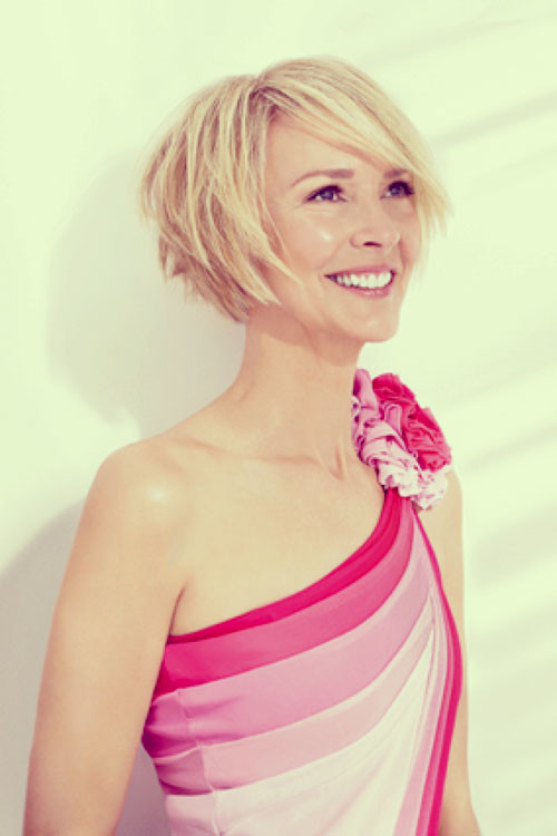 Short-hair-side-swept-bangs Short and Cute Hairstyles for Women