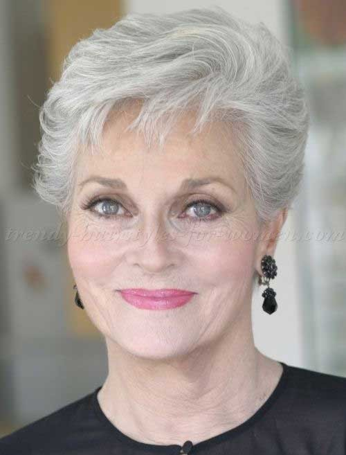 Simple-Short-Grey-Hairstyle-for-Over-50 Short Hair Styles for Over 50