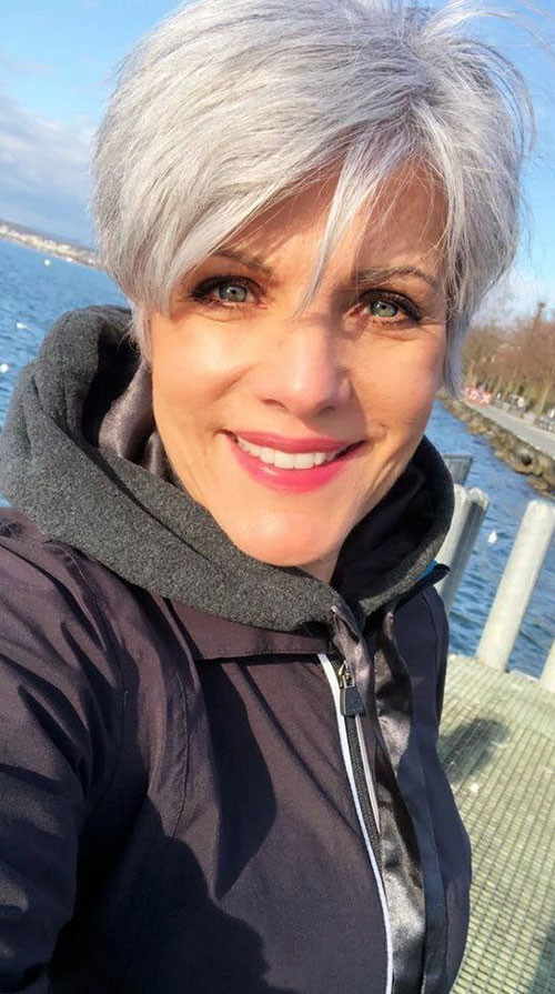 Stylish-Grey-Pixie Best Short Haircuts for Women Over 50