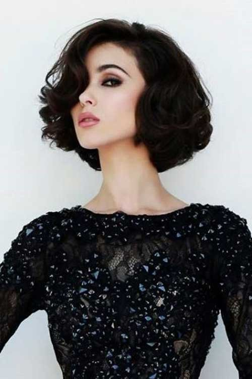 Thick-Short-Hair-Loose-Curls Curly Bob Hairstyles for Chic Women