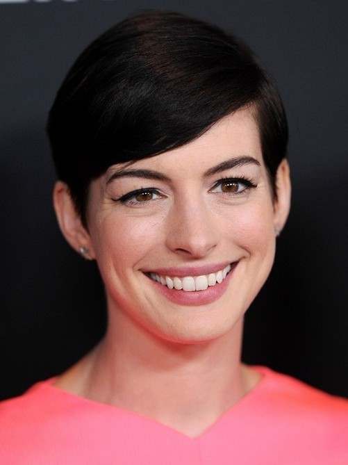 2014-Anne-Hathaway-Hairstyles-–-Easy-Short-Pixie-Haircut-with-Side-Swept-Bangs Top 100 Celebrity Hairstyles 2019