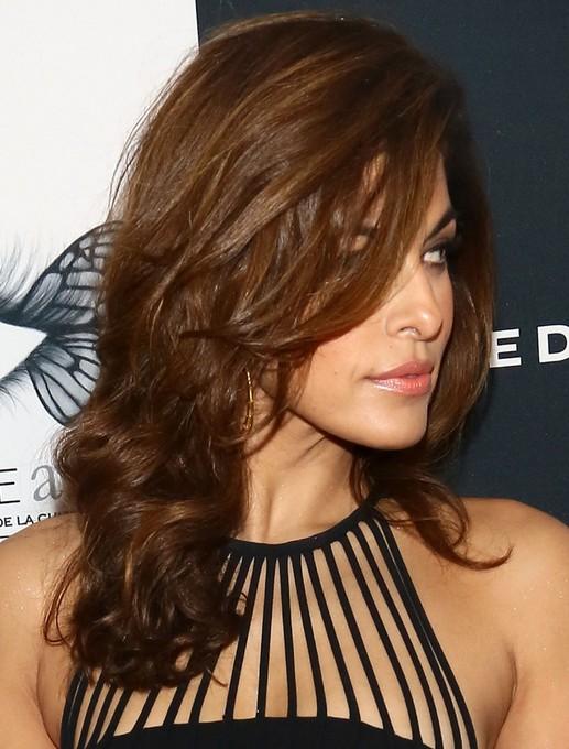 2014-Eva-Mendes-Hairstyles-Brown-Long-Hair Top 100 Celebrity Hairstyles 2019