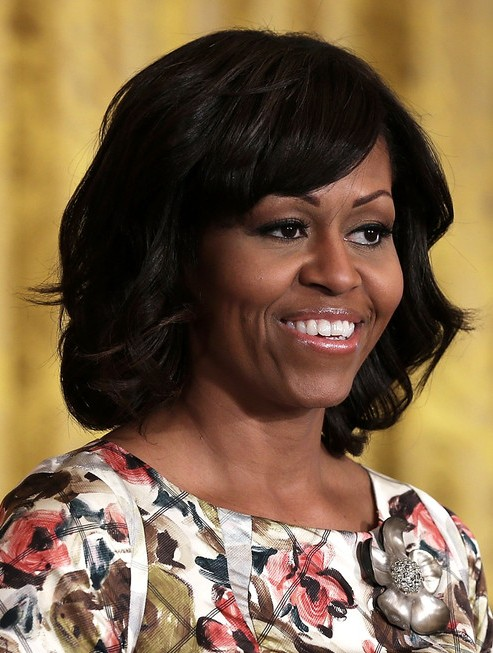 2014-Michelle-Obama-Medium-Hairstyles-–-Big-Wavy-Hairstyle-for-Black-Women Top 100 Celebrity Hairstyles 2019