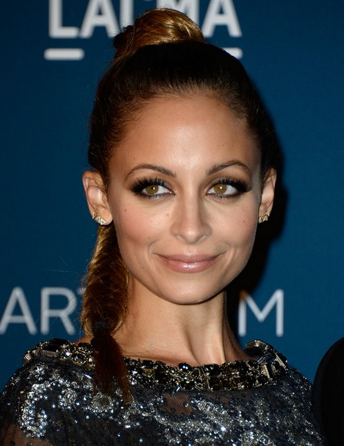 2014-Nicole-Richie-Hairstyles-High-Braided-Ponytail Top 100 Celebrity Hairstyles 2019