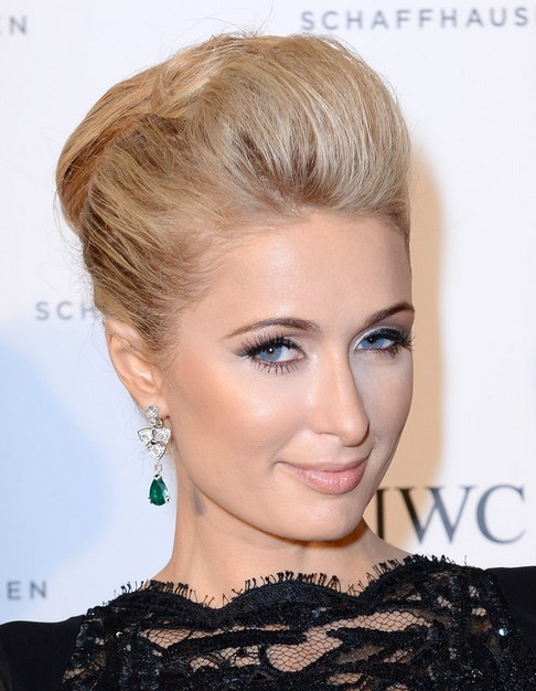 2014-Paris-Hilton-Medium-Hairstyles-Bobby-Pinned-Updo-Hairstyle Top 100 Celebrity Hairstyles 2019