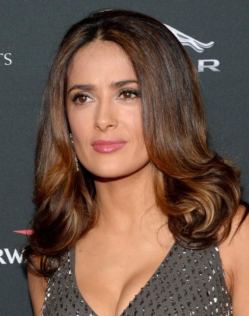 2014-Salma-Hayek-Hairstyles-Shoulder-length-Hair Top 100 Celebrity Hairstyles 2019
