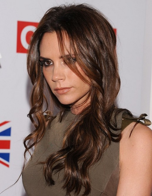 2014-Victoria-Beckham-Hairstyles-–-Brown-Long-Wavy-Hair Top 100 Celebrity Hairstyles 2019