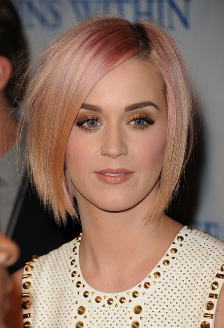 8.-Katy-Perry-Short-Hairstyles-Pink-and-apricot-blonde-bob Popular Short Hairstyles for Women 2019