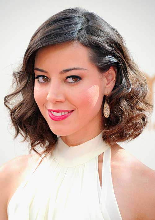 Aubrey-Plaza-Medium-Brown-Ombre-Hair Short Medium Hairstyles 2019
