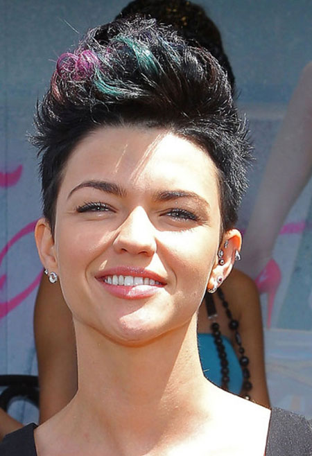 Black-Hawk-Hairdo-with-Blue-and-Pink-Bang Short Haircuts and Color Ideas