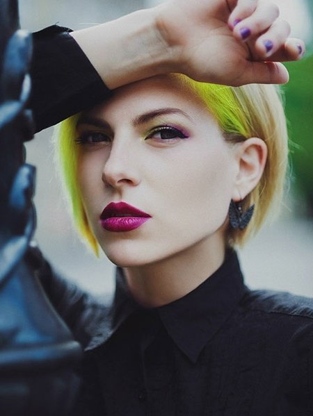 Blonde-Colored-Short-Haircut-with-Green-Bangs-at-Front Short Haircuts and Color Ideas