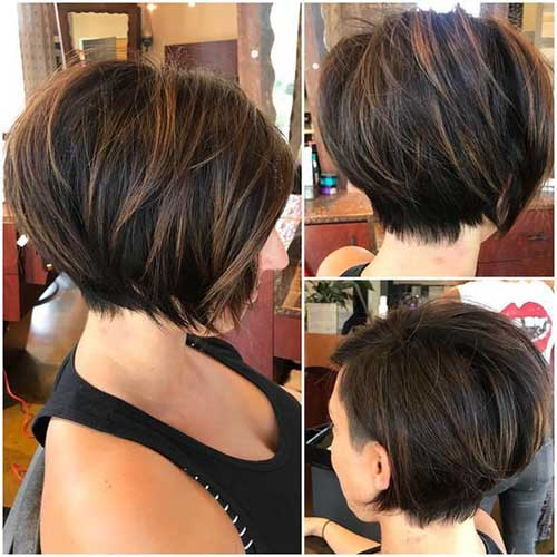 Bob-Cut Charming Short Brunette Hairstyles