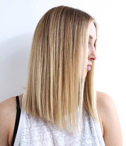 Brown-Straight-Line-Long-Bob-Hair Best Short Brown Haircuts 2019