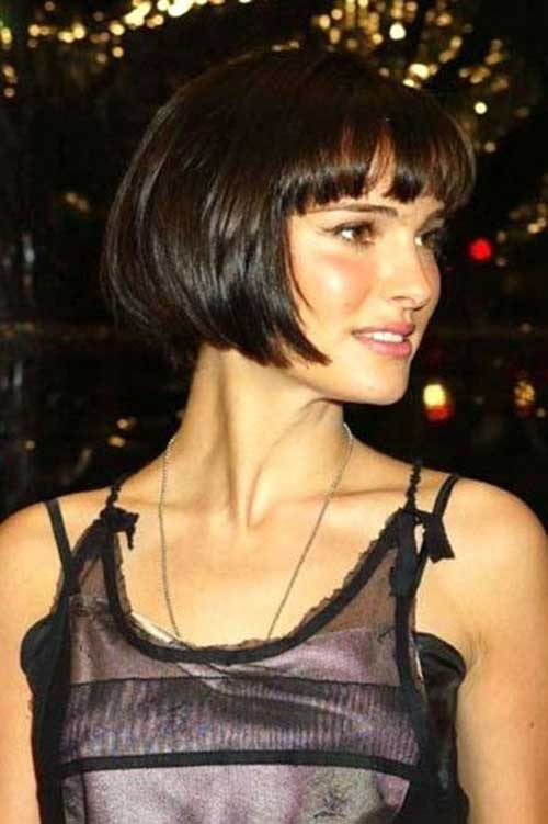 Brunette-Bob-Haircut-with-Bangs Brunette Bob Hairstyles 2019