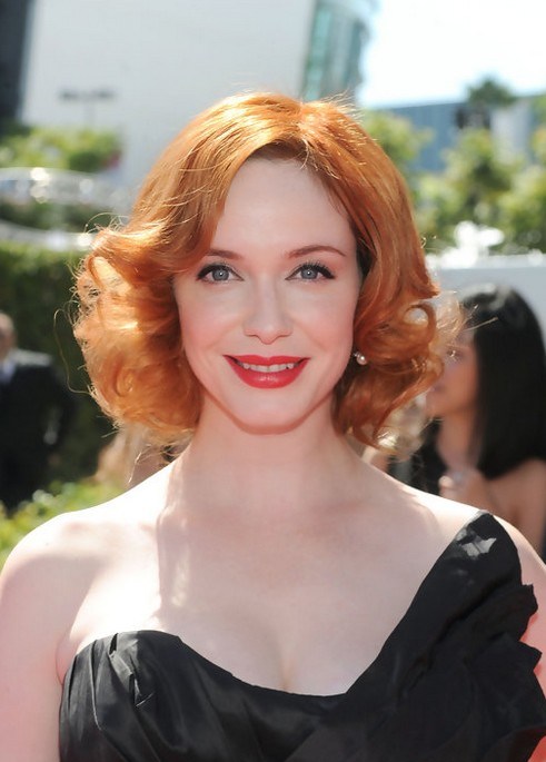 Christina-Hendricks-Short-Red-Curly-Hairstyle-for-Women Popular Short Hairstyles for Women 2019