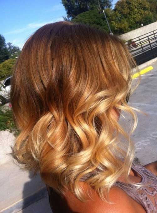 Curly-Pretty-Short-to-Medium-Ombre-Hair Short Medium Hairstyles 2019