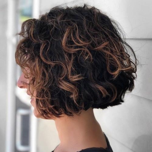 Cute-Brunette-Wavy-Curly-Bob Brunette Bob Hairstyles 2019