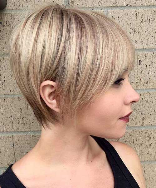 Cute-Long-Bangs Best Pics of Layered Short Hair for Round Face