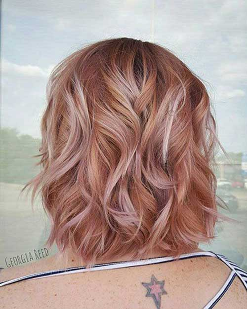 Cute-Rose-Gold-Hair-Color Latest Trend Hair Color Ideas for Short Hair